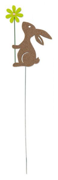 Drahtstecker Hase mit Blume Braun / Grün H ca. 31cm Ostern