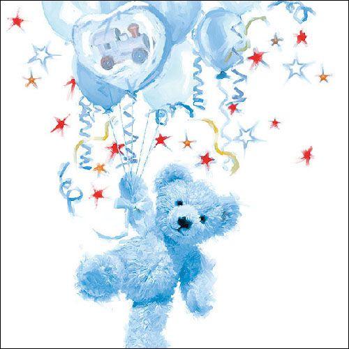 Serviette Teddy Blue 33x33cm 20er Pack