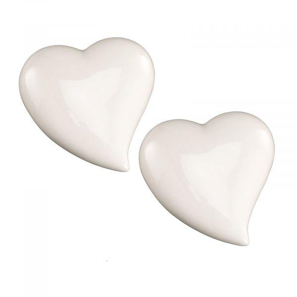 Herz weiß glänzend 11x10cm 2er Set bei Tischdeko-Shop.de
