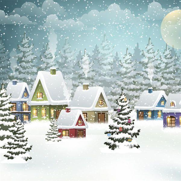 Serviette Village in Snow 33x33cm 20er Pack bei Tischdeko-Shop.de