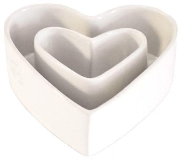 Ringvase Herzform Keramik Weiß 17cm