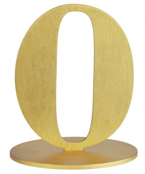 Tischaufsteller Zahlen Gold 14x10x17cm 0 bei Tischdeko-Shop.de