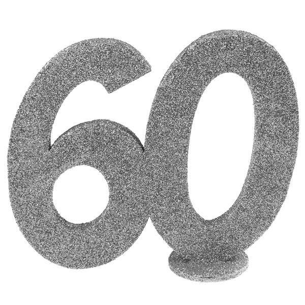 Jubiläums - Zahl 60 Silber Glitter Aufsteller