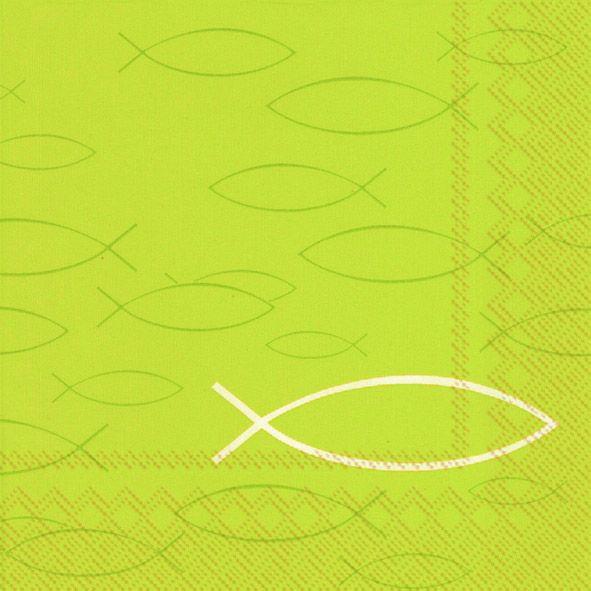 Servietten Peaceful Fish light green 33x33cm 20er Pack