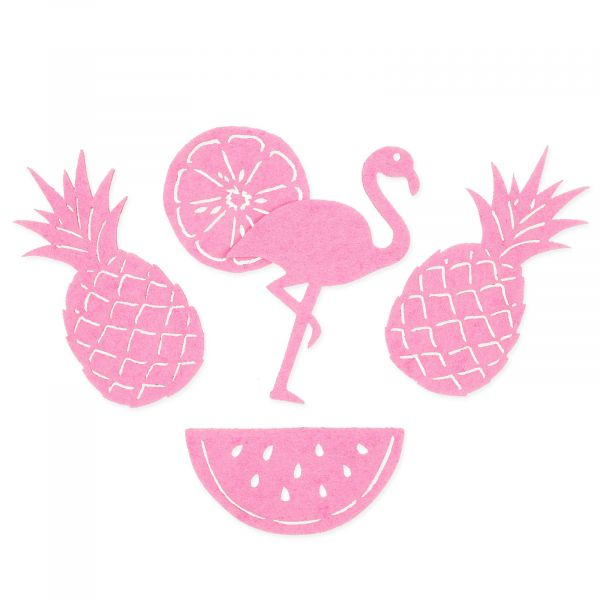 Filzsortiment Flamingo and Fruits Rosa 5 Motive 15er-Set bei Tischdeko-Shop.de