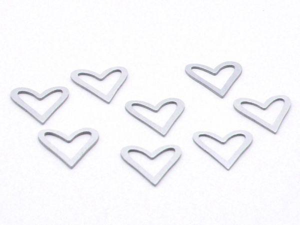Streudeko Herz silber Holz ca. 3cm 8 Stück