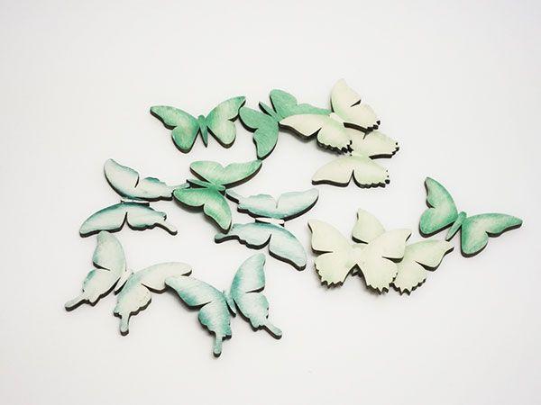 Schmetterling Streu Grün/Blau lasiert sortiert