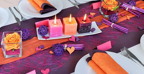 Tischdekoration In Der Farbe Aubergine Pink Orange Bei Tischdeko