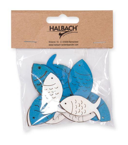 Streudeko Fisch Blau / Weiß 12 Stück ca. 4-5cm
