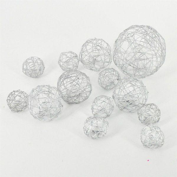 Deko-Kugeln Drahtbälle Silber 10-teilig sortiert bei Tischdeko-Shop.de