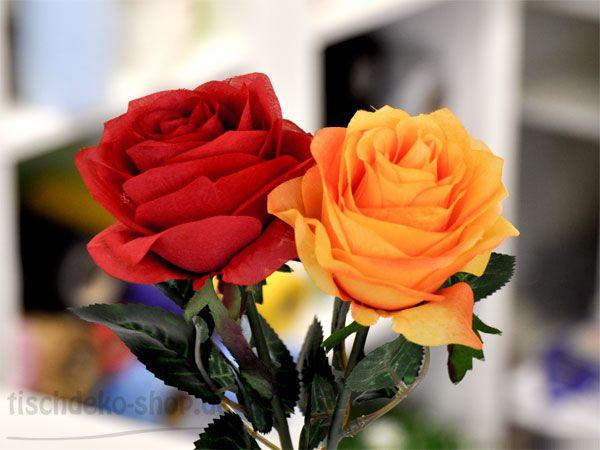 Täuschend echte Rose 45cm Rot