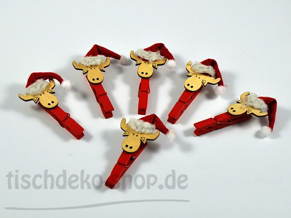 Holz-Clip Elch 6 Stück
