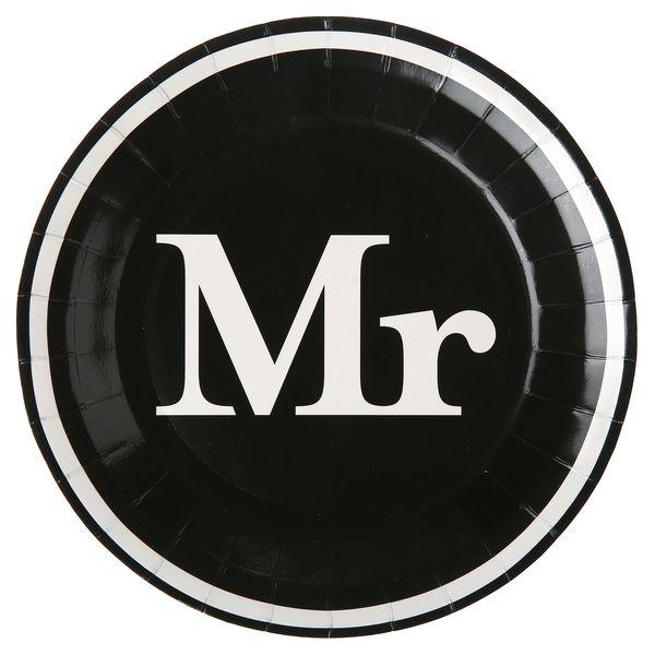 Pappteller Mr. Schwarz 22.5cm 10 Stück Hochzeit, Polterabend