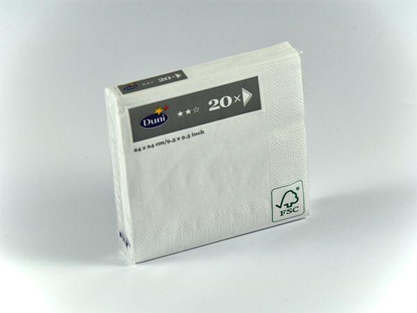 DUNI Serviette Weiß 24 X 24 cm 20er Pack