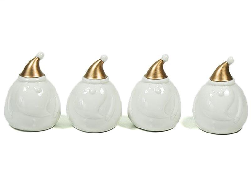 deko nikolaus weihnachtsmann wei gold porz 9cm 4er set. Black Bedroom Furniture Sets. Home Design Ideas