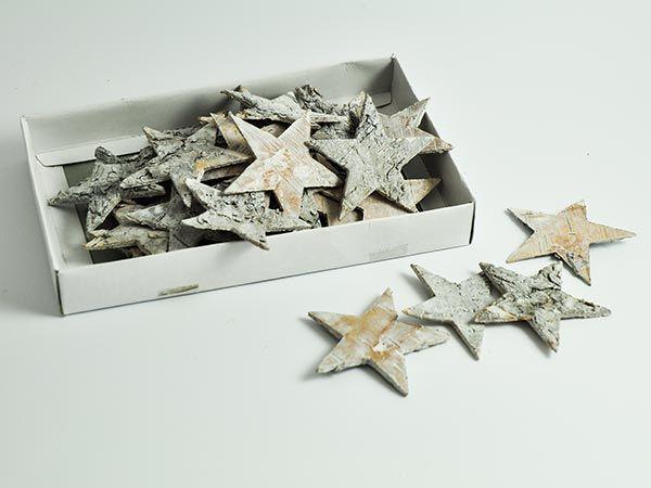Sterne Streu Birke geweißt, Ø6.5cm 30er Box