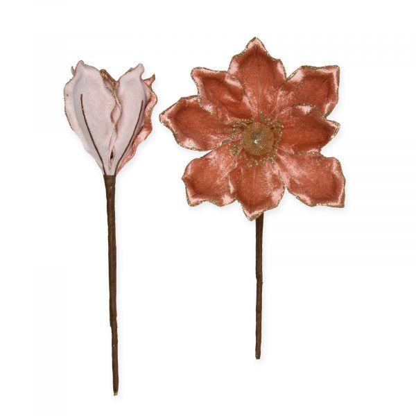Samt-Blüten Altrosa mit goldenem Glitter-Rand 20 cm 4 Stück formbar bei Tischdeko-Shop.de
