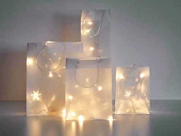 Deko Tasche aus 3D Stern Effekt Folie m. LED Lichtern Höhe 37 cm