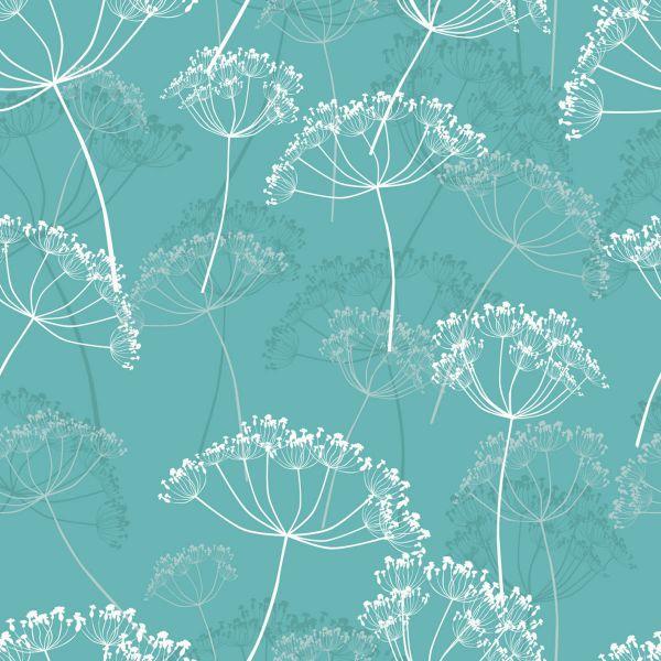 Präge-Serviette Hovering Flowers Türkis 33cm 16er Pack bei Tischdeko-Shop.de
