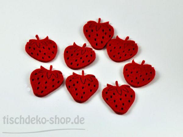 Filz-Sortiment Erdbeeren rot 4x5cm 8 Stück