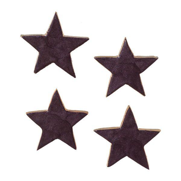 Streudeko-Stern Holz Aubergine lackiert 5cm 6er-Vorteilspack