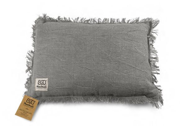 Kissen in Leinenoptik mit Fransen Grau 30x45cm SIZO Handmade
