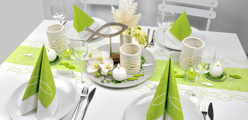 Tischdeko Zur Taufe Mit Fischen Grün Weiß Bei Tischdeko Shop
