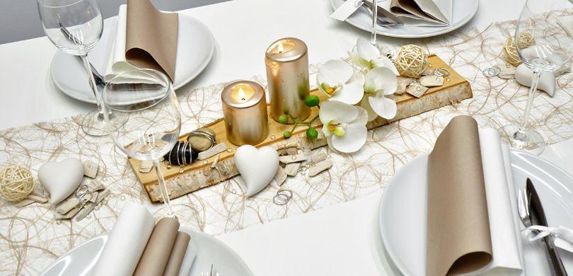 Moderne Hochzeitsdekoration In Greige Mit Pearl Mit Birkenscheibe