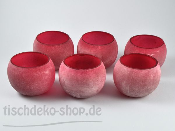 Windlicht 6er Set Ball Frosty Rot 8,5cm