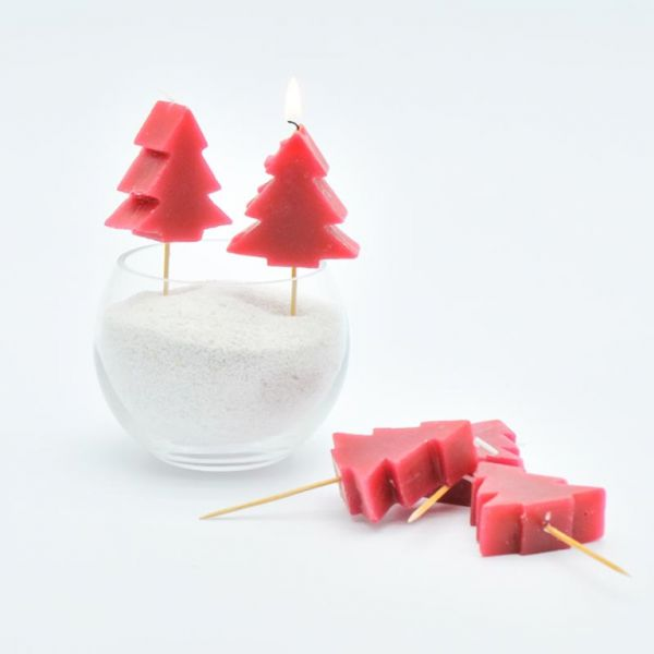 Kerze Wachs Baum auf Holz-Stecker Rot 5er Set bei Tischdeko-Shop.de
