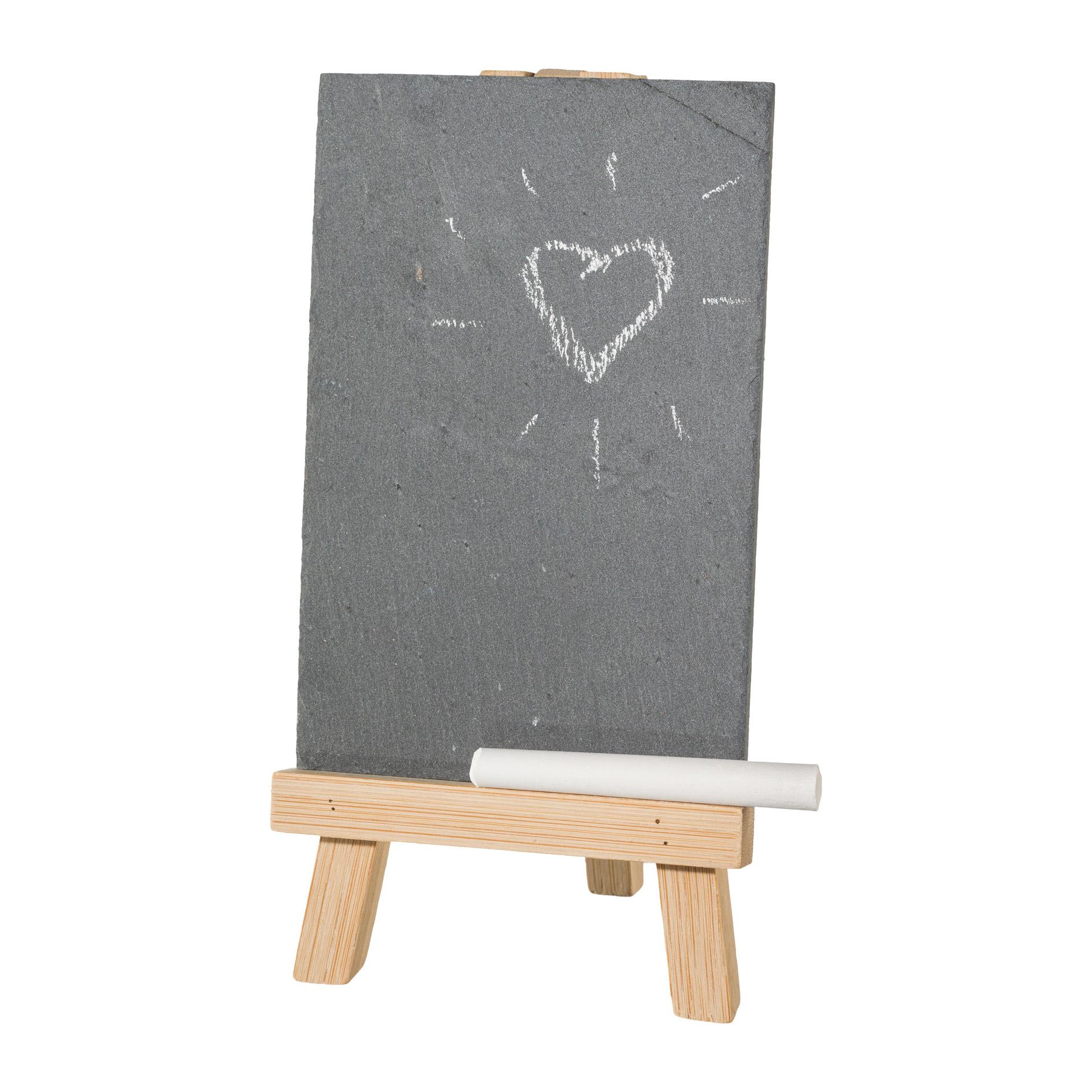 deko schild schiefertafel auf bambusstaffelei 20x10x5cm. Black Bedroom Furniture Sets. Home Design Ideas