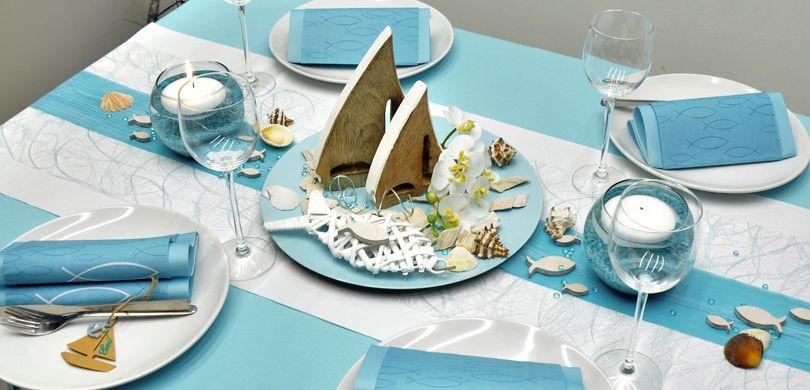 Tischdekoration In Mintblue Mit Schiffen Kaufen Tischdeko Shop