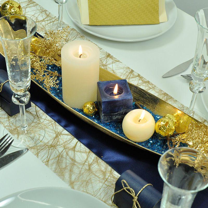 Tischdekoration Hochzeit Gold Blau