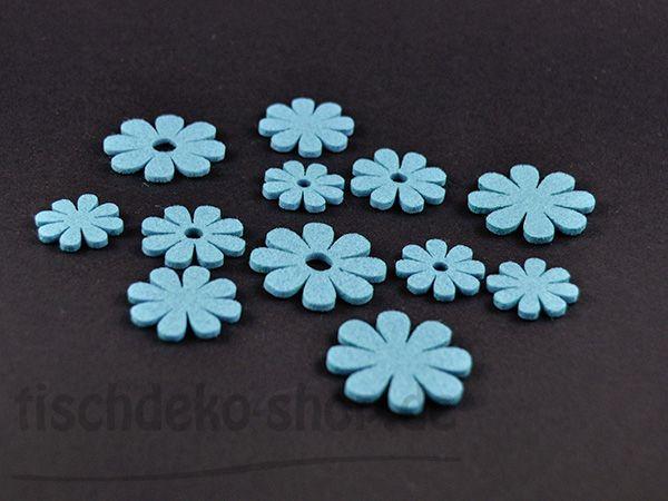 Streublüten aus Filz Hellblau 60er Vorteilspack