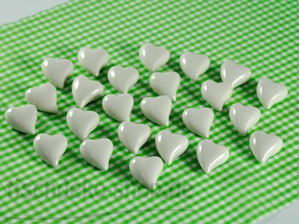 Herz Ø 3cm creme-weiß glänzend Keramik 24 Stück