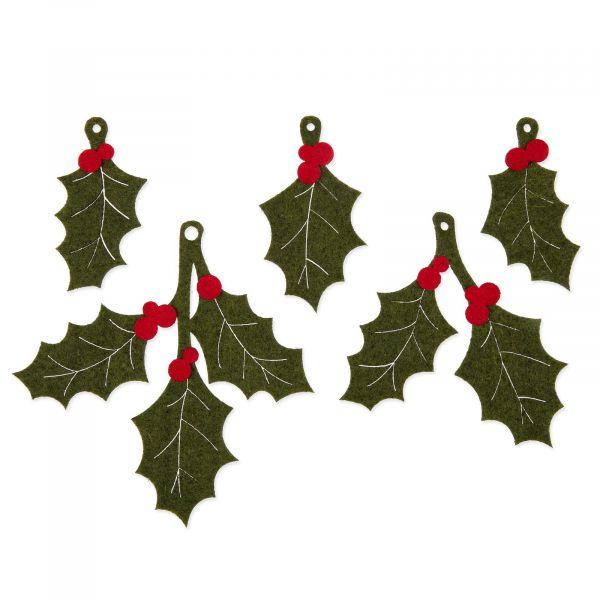 Weihnachtsdeko Stechpalmenzweig Ilex Filz Grün/Rot 5cm-12cm bei Tischdeko-Shop.de
