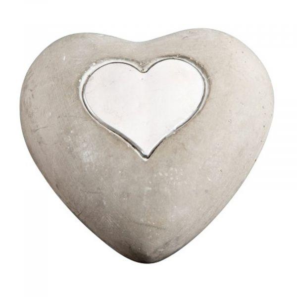 Herz Zement mit Metallherz 9x8x3.5cm bei tischdeko-Shop.de