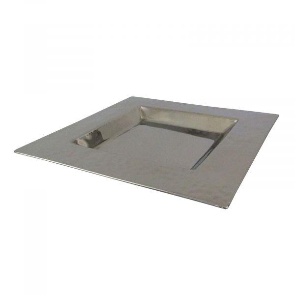 Edelstahl Teller quadratisch 26x26x2 cm bei Tischdeko-Shop.de
