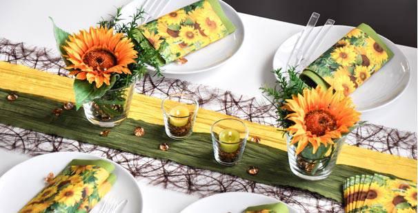 Tischdeko herbst modern  Tischdekoration in Grün-Gelb kaufen | Tischdeko-Shop