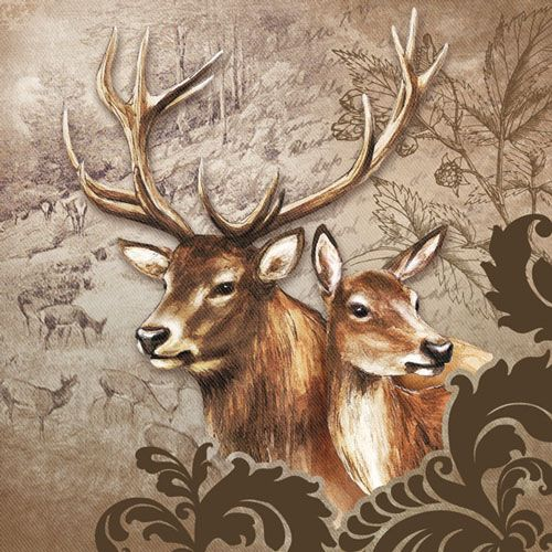 Serviette Deer Couple brown 33x33cm 20er Pack