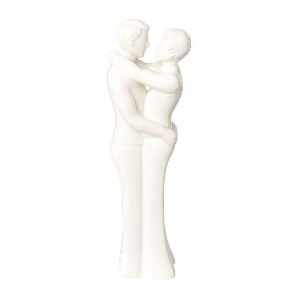 Dekofigur Männer-Paar COLINO 30,5cm Weiß Keramik bei Tischdeko-Shop.de