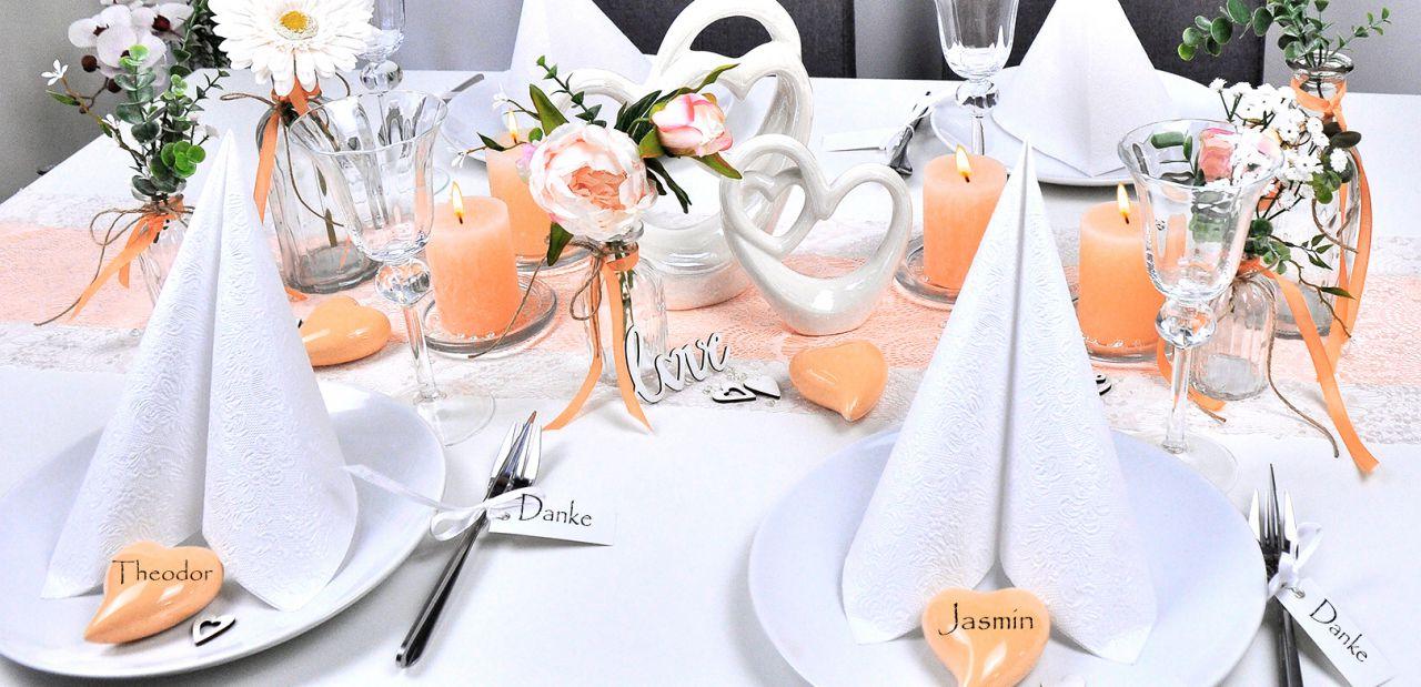 5m Tischband  aprikot Hochzeit  Tischläufer Taufe Kommunion Tischdeko 1,30€//m