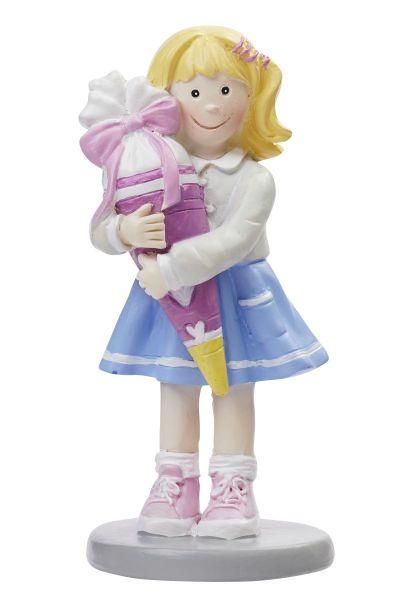 Figur Schulmädchen mit Schultüte Polyresin 8.5 cm bei Tischdeko-Shop.de