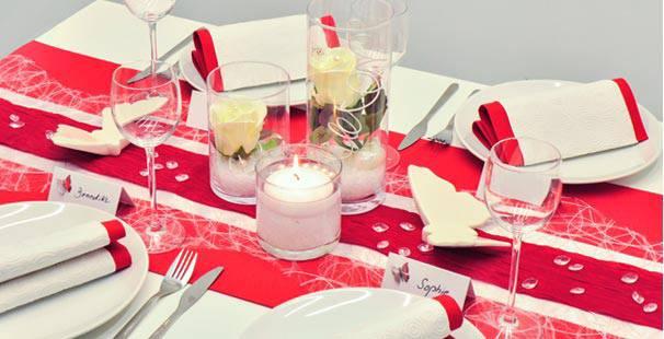 Tischdekoration in Rot Weiß kaufen | Tischdeko-Shop