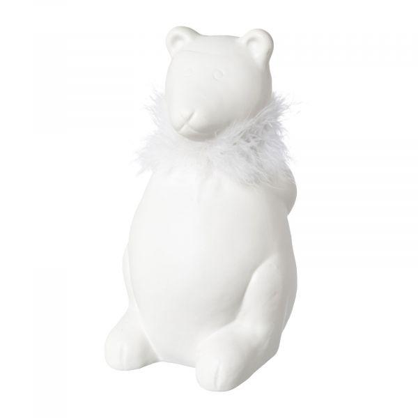 Dekofigur Eisbär PAUL Keramik mit Federboa 16cm bei Tischdeko-Shop.de