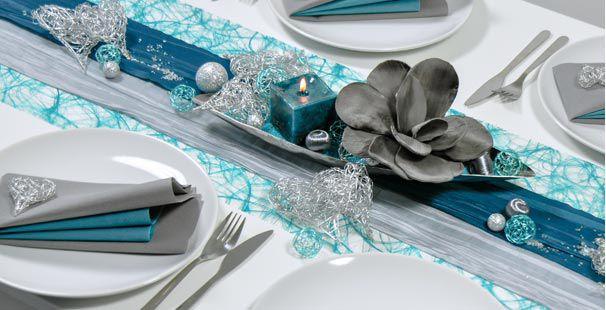 Tischdekoration In Petrol Mit Silberherzen Kaufen Tischdeko Shop