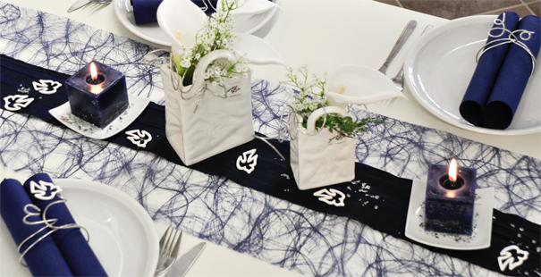 Dunkel-Blau mit Taschen-Vasen online kaufen - Tischdeko-Shop.de