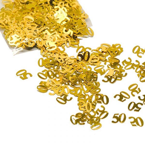 Zahlen-Konfetti 50 in Gold 10mm 15gr. Beutel