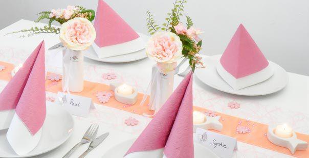 Tischdekoration In Rosa Apricot Mit Fischen Tischdeko Shop