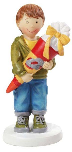 Figur Schuljunge mit Schultüte 8.5 cm